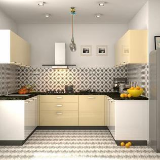 U-shaped Frosty White and Champagne Modular Kitchen