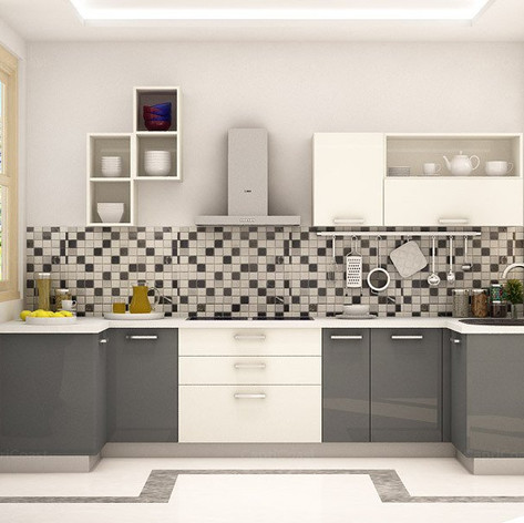 U shaped Horizon Oak Modular Kitchen Des