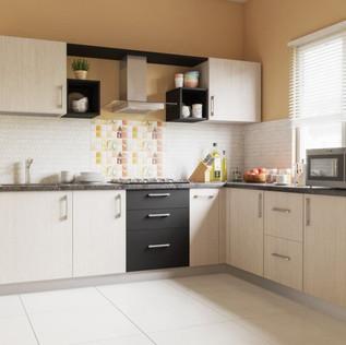Beauty L-Shaped Modular Kitchen Design