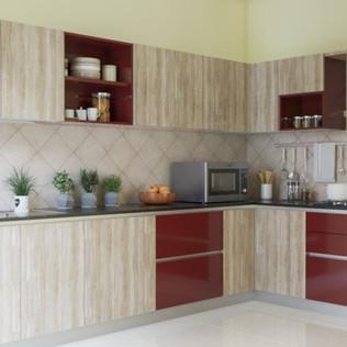 Woody L-Shaped Modular Kitchen