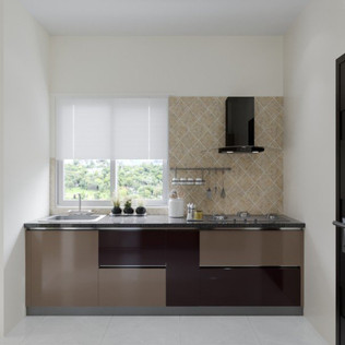Coffee Straight Modular Kitchen Design