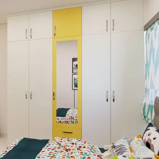 Yellow and White Straight Wardrobe