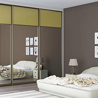Olive Green Sliding Door Mirrored Wardrobe