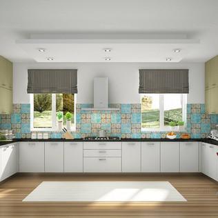 U-Shaped Sparkling Wood and Creamy White Modular Kitchen