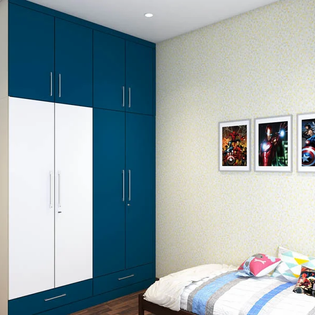 Royal Blue Matte Finish Floor to Ceiling Wardrobe