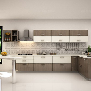 Leah L-Shaped Horizon Oak Modular Kitchen Design