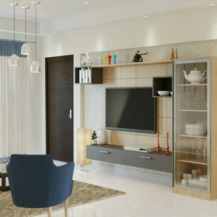 Full Length TV Entertainment Unit with Tall Unit