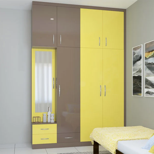 Dusty Brown Multitone Lacquered Glass Wardrobe