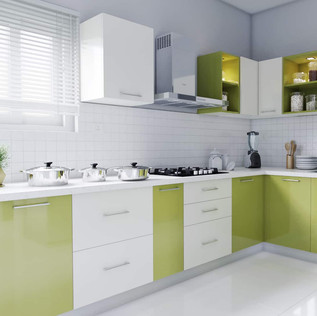 L-Shaped White and Citrus Green Modular Kitchen