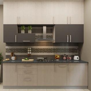 Sombre Night Straight Modular Kitchen Design
