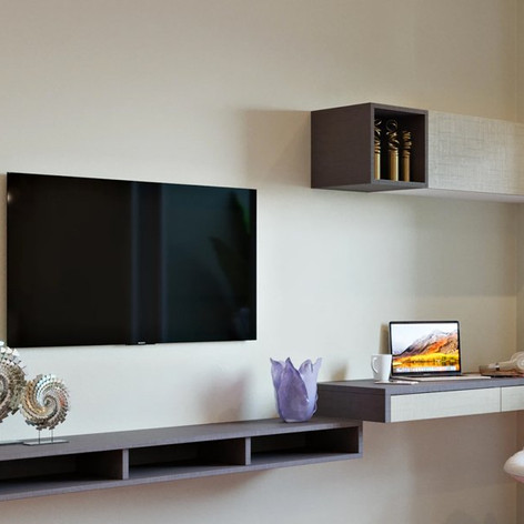 Entertainment Unit with a Modern Study corner