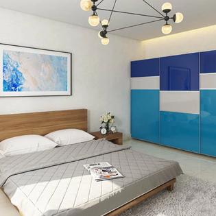 Monochrome Blue Lacquered Glass Wardrobe