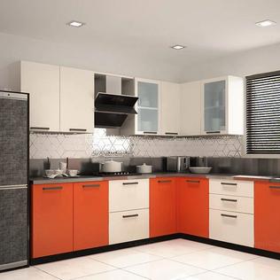 L-shaped Orange and Mysore Ivory Modular Kitchen