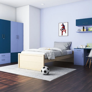 Colour Block Blue Floor To Ceiling Wardrobe