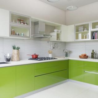 Green L-Shaped Modular Kitchen Design