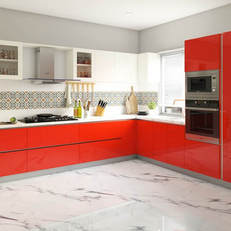 Red and Frosty White Theme Modular Kitchen Design