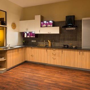 Sunny L-Shaped Modular Kitchen Design