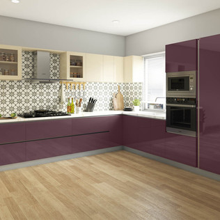 Purple Passion L-Shaped Modular Kitchen Design