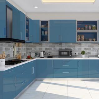 Blue L-Shaped Modular Kitchen Designs