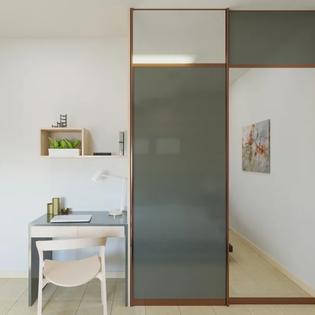 Gray Sliding Door Mirrored Wardrobe