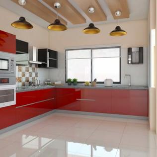 Best Red Velvet L-Shaped Modular Kitchen Designs