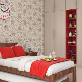 Crimson and Cream Kids Wardrobe with Storage