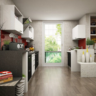 Parallel Frosty White and Black Modular Kitchen Design