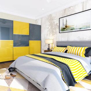 Mustard Blue Floor To Ceiling Wardrobe
