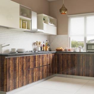 Dark Wood L-Shaped Modular Kitchen Design