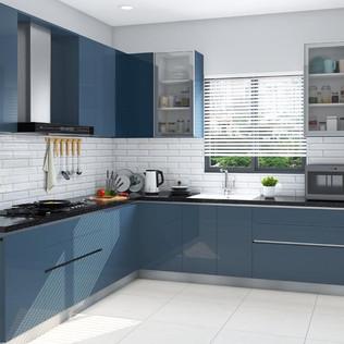 Classic Blue L-Shaped Modular Kitchen