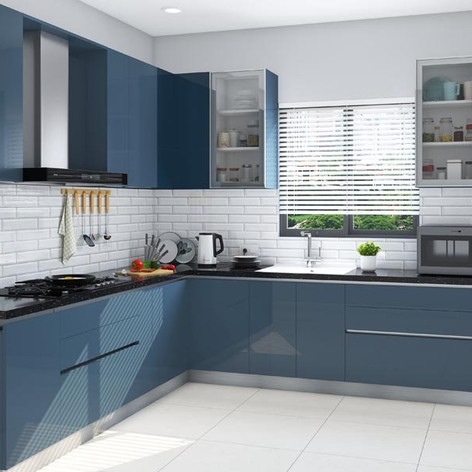 Classic Blue L-Shaped Modular Kitchen Design