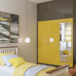 Mustard Teal Floor To Ceiling Hinged Wardrobe