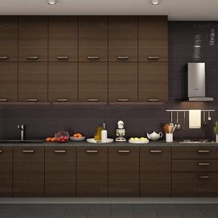 Violet and Black Straight Modular Kitchen