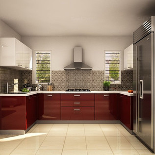 U Shaped Creamy White and Chestnut Modular Kitchen