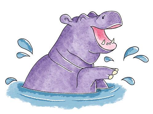 Splishy Splashy Hippo - Print