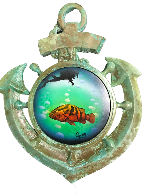 Nautical Art Anchor Grouper with a Scuba Diver above