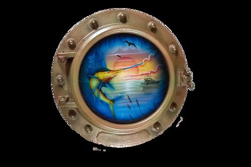 Porthole Round Decorative with Sailfish and Sailboat at Sunrise