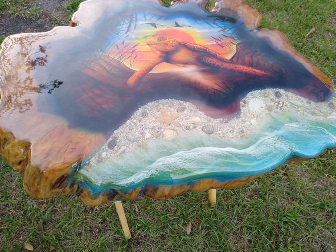 Cedar Table Shell Inlay & Airbrushed Turtle Scene