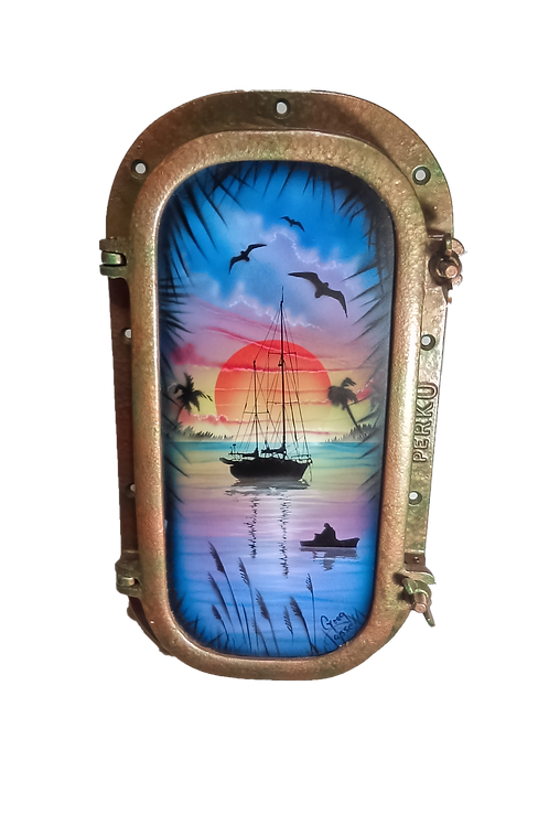 Porthole, Authentic. Sailboat at Sunrise