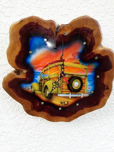 woody clock cedar airbrushed by artist greg cassell (2).jpg