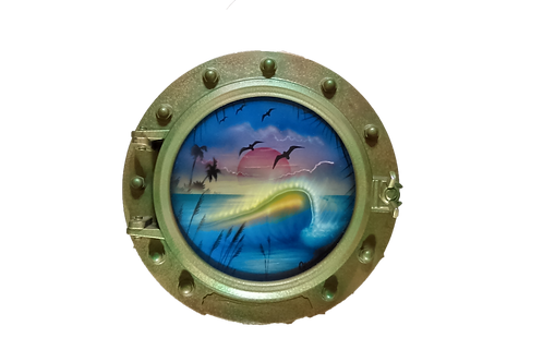 Porthole Round Decorative with Curling Wave at Sunset
