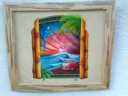 VW Bus on the shore with waves and a Macaw Framed in Ambrosia Maple