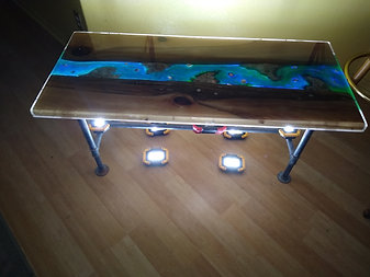 4 foot long and 21 inch wide and tall Cypress Coffee Table with River Pour