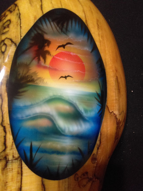 Spalted Sycamore Sealed in Epoxy Risen hand Airbrushed by Artist Greg Cassell