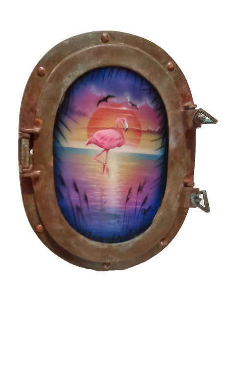 Porthole Decorative Metal Flamingo at Sunrise