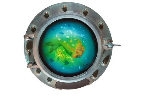 Porthole Round Decorative with Mermaid and Coral