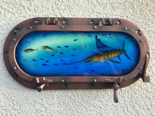 Resined  Marlin encased in a Hinged Porthole