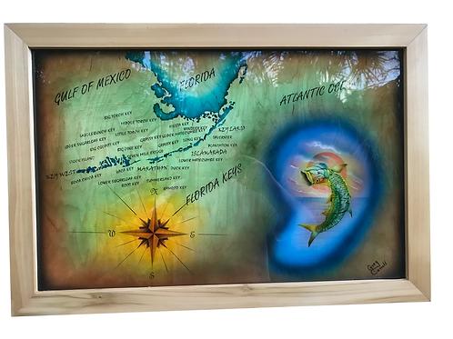 Tarpon fish, Nautical Star and South Florida Map