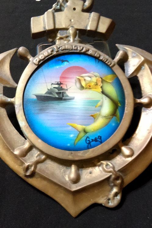 Nautical Art. Anchor with a Tarpon Jumping and Sailboat