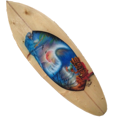Oak Hand-Shaped Surfboard with Tiki, Wave and Macaw at sunset